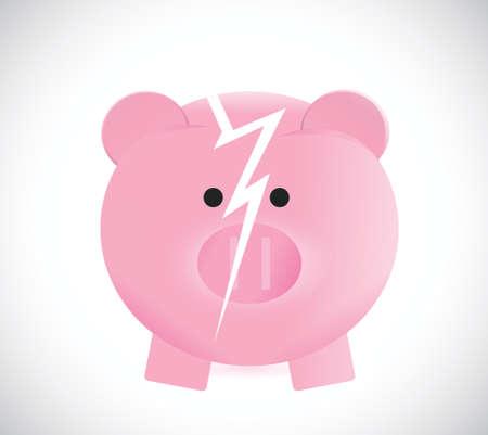 broken piggy bank illustration design over a white background Vector