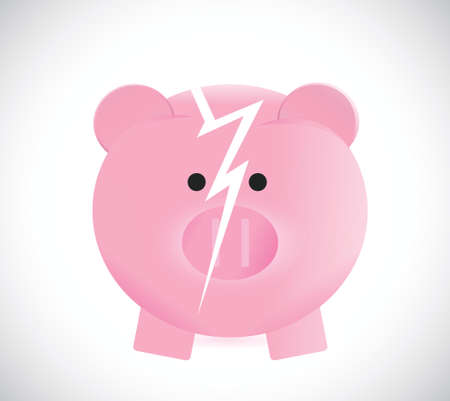 strapped: broken piggy bank illustration design over a white background