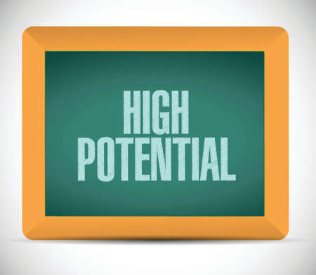 potential: high potential message on a chalkboard illustration design over a white background Illustration