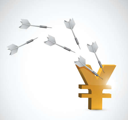 china business: target yen currency illustration design over a white background