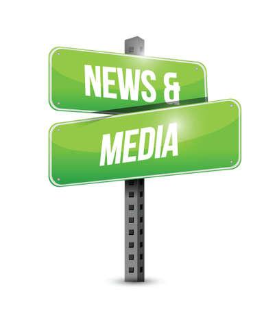 news and media sign illustration design over a white background