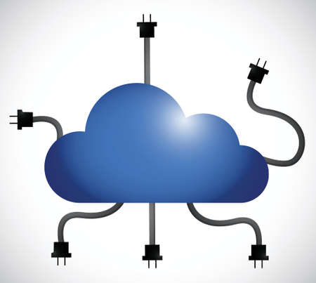 cloud computing cable connection. illustration design over a white background Vettoriali