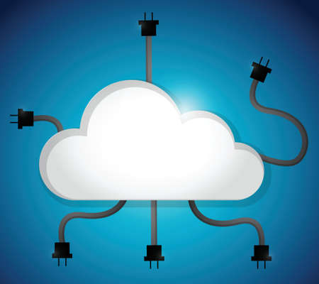hub computer: cloud computing cable connection. illustration design over a blue background