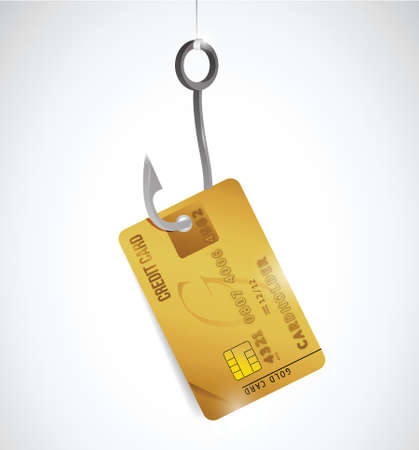 phishing: credit card and hook illustration design over a white background Illustration