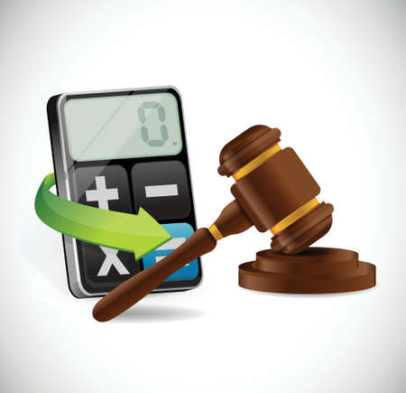 arbitration: calculator and law hammer illustration design over a white background