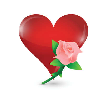 pink rose and red heart illustration design over a white background Vector