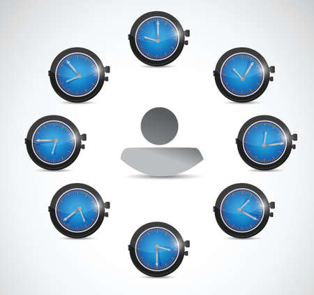 timezone: time concept around avatar illustration design over a white background Illustration