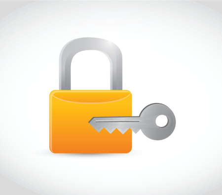lock and key illustration design over a white background