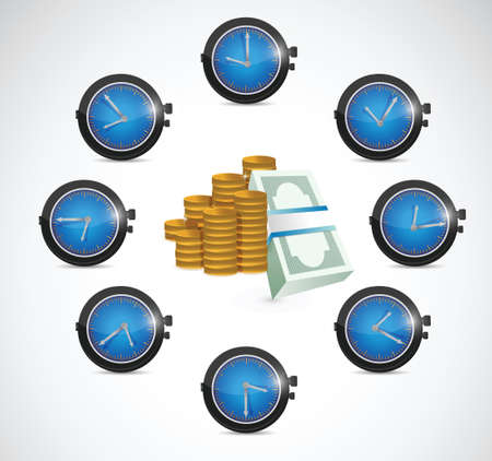 timezone: time is money concept illustration design over a white background