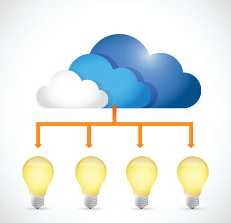 disperse: ideas store on a cloud. concept diagram illustration design over a white background