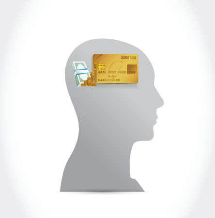head, credit card and money illustration design over a white background Vector