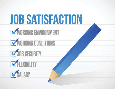 employee satisfaction: job satisfaction check mark illustration design over a white background Illustration