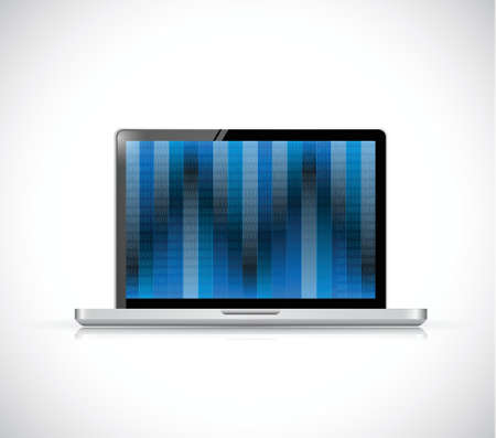 tft: binary screen on a laptop illustration design over a white background