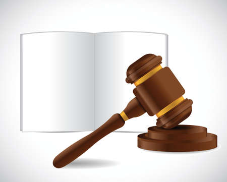 justice court: open book and a law hammer illustration design over a white background
