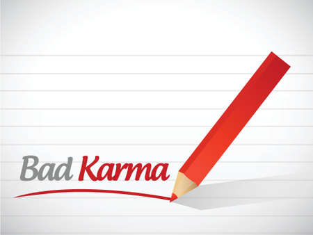karma design: bad karma message illustration design over a white background