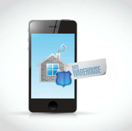 algorithm: data warehouse sign on a smartphone illustration design over a white background