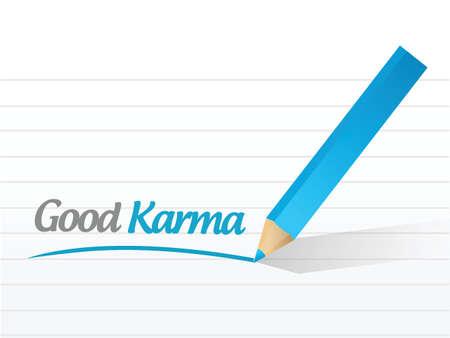 흰색 배경 위에 좋은 카르마 메시지 그림 디자인