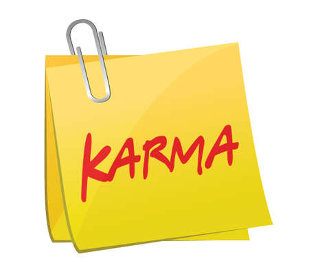 forthcoming: karma message post illustration design over a white background