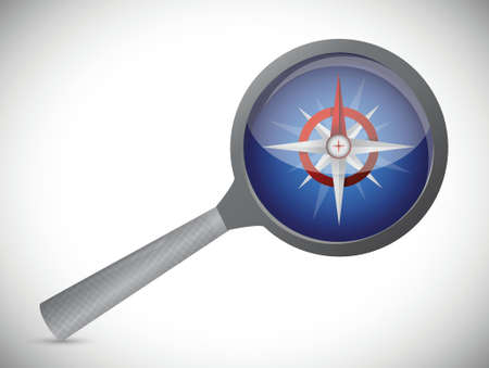 magnify over a compass illustration design over a white background
