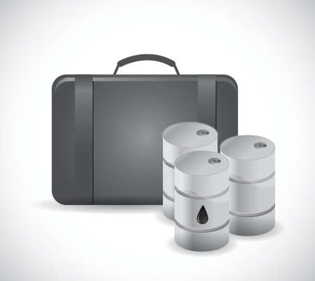 leather goods: suitcase and oil barrels illustration design over a white background