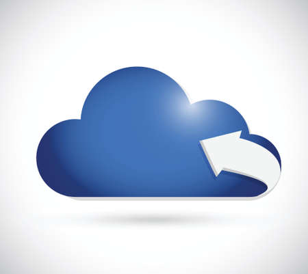 cloud computing and arrow illustration design over a white background Vector