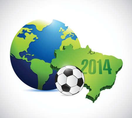 soccer brazil map 2014 illustration design over a white background 向量圖像