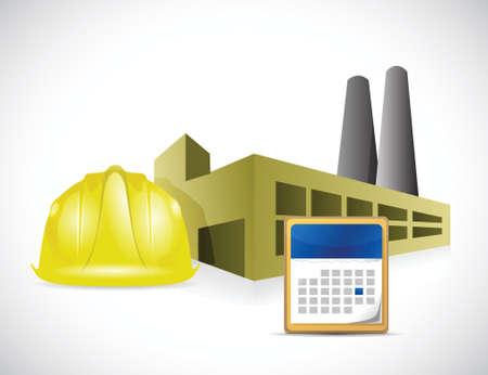 factory helmet and calendar illustration design over a white background