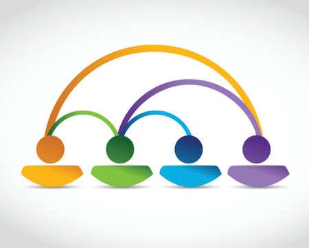 peer to peer: ilustración, diseño, conexión de la gente sobre un fondo blanco
