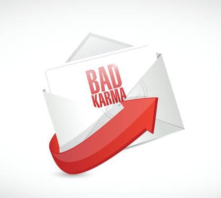 mantra: bad karma email illustration design over a white background Illustration