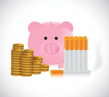 piggy bank and cigarettes illustration design over a white background Stock Vector - 26689950
