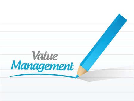 theoretical: value management message illustration design over a white background