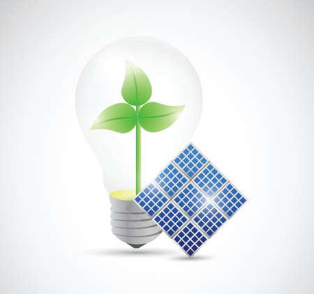 renewable energy, windmill, solar panel illustration design over a white background