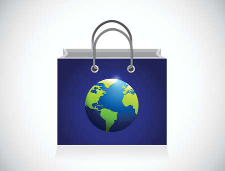 blue planet shopping bag illustration design over a white background Vector