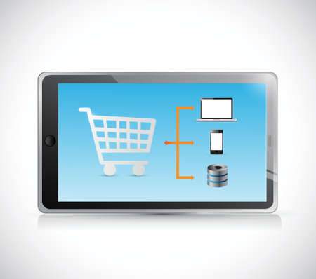 tablet shopping cart diagram illustration design over a white background Vector