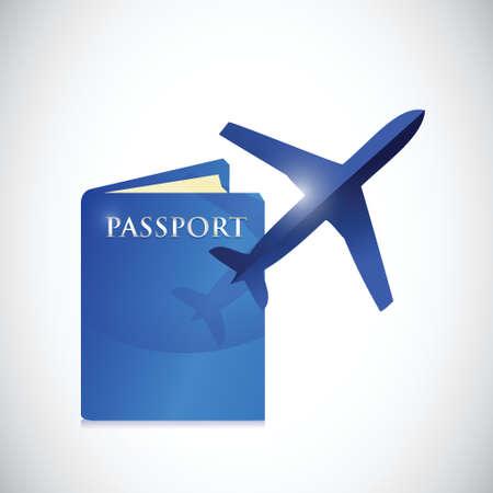 paspoort en vliegtuig illustratie ontwerp op een witte achtergrond