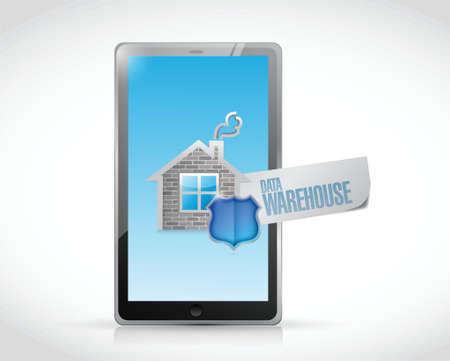 data warehouse: signo de almacenamiento de datos en un dise�o de la ilustraci�n de la tableta en un fondo blanco