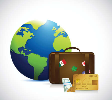 recess: globe, money and travel suitcase illustration design over a white background