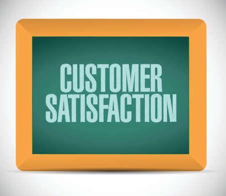 customer satisfaction chalkboard message illustration design over a white background