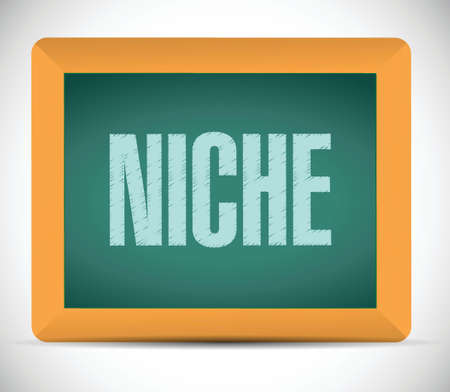 niche: niche chalkboard message illustration design over a white background
