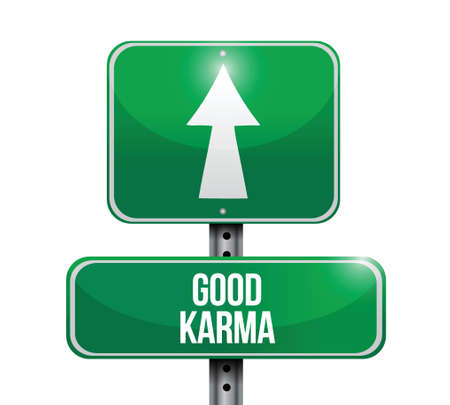 good break: buena se�al karma dise�o ilustraci�n sobre un fondo blanco