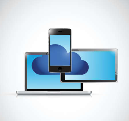 touchpad: cloud computing and electronics illustration design over a white background