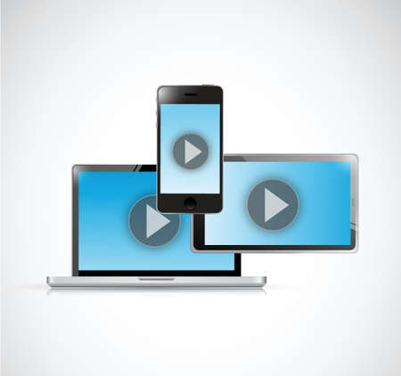 windows media video: technology video electronics. illustration design over a white background Illustration
