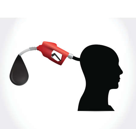 head and gas pump. illustration design over a white background Illustration