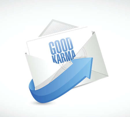 forthcoming: good karma email illustration design over a white background