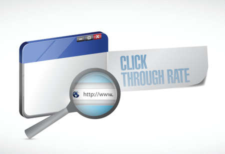 click through rate browser message illustration design over a white background