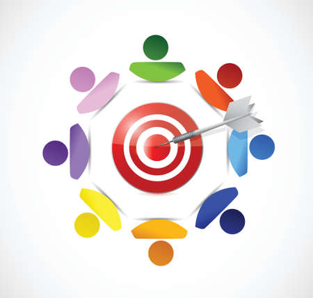 medium group of people: people around a target illustration design over a white background