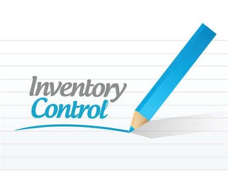 inventario: mensaje de control de inventario diseño ilustración sobre un fondo blanco Vectores