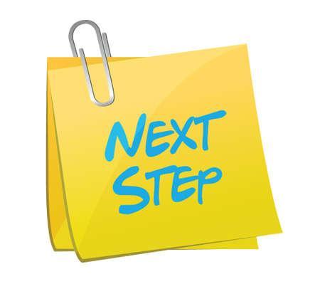 next step message post illustration design over a white background