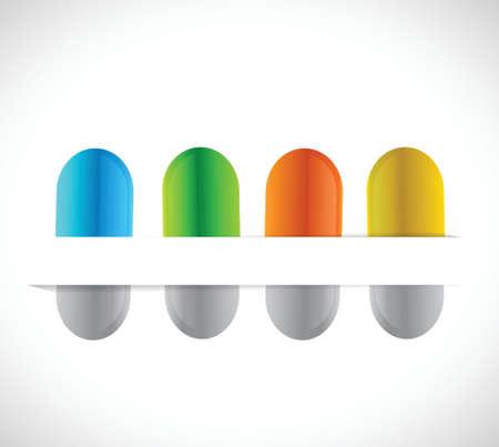 pills on a paper pocket. illustration design over a white background