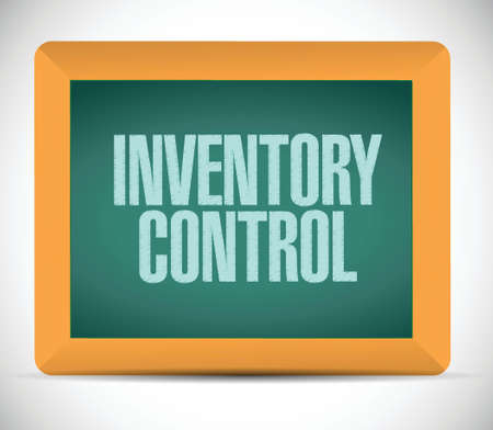 inventory control message on a chalkboard. illustration design over a white background 向量圖像